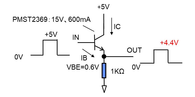 バイポーラ-NPNトランジスタによるエミッタフォロワー回路例