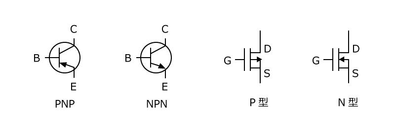 バイポーラトランジスタとMOSFETの回路図