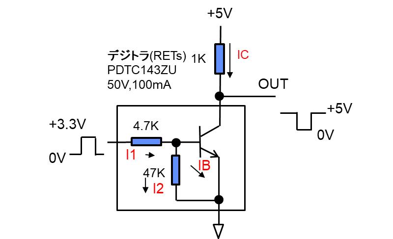 バイポーラトランジスタによるインバータ回路例